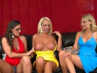 Nikki Masters enjoys having two horny babes teasing her and pleasing her needs