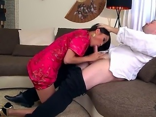 Asian cute brunette bitch PussyKat doing hot and pretty skilled blowjob and...