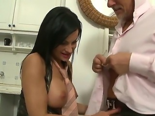 Busty brunette whose name is Abbie Cat sucks Christoph Clarks strong dick