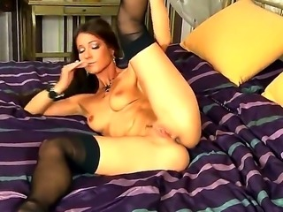 Gorgeous hot babe Melisa Mendiny spreads her cute legs wide to finger her...