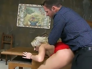 Super horny secretary blonde Ary with beautiful boobs and sexy face fucking...