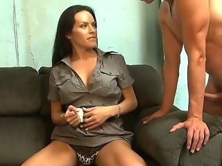 enticing brunette shemale TS Foxxy seducing Mark Frenchy