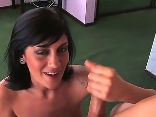 Turned on cock loving skilful black haired Kayden Faye with natural hooters...