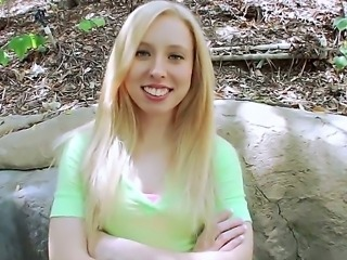 Its a special day for blonde teen Sofie Carter as she gets to taste her first...