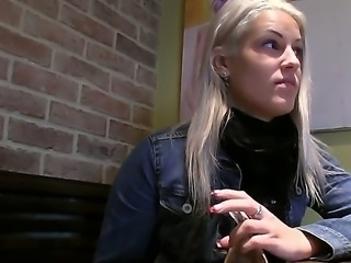Enjoy blowjob in the coffe-shop WC by glorious sexy blonde chick Beata