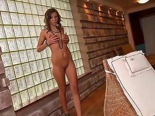Young looking stunning brunette goddess Mona Lone with natural boobs and...