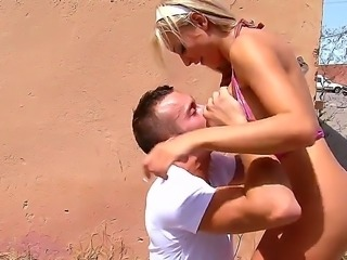 Lovely blonde Jordan Pryce gets seduced into deep sucking this guys massive cock