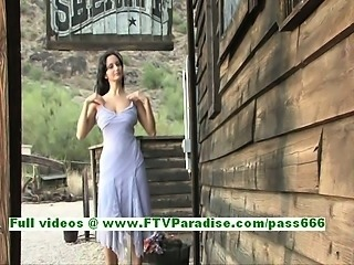 Luna stunning busty brunette girl posing naked outdoor and flashing tits and...
