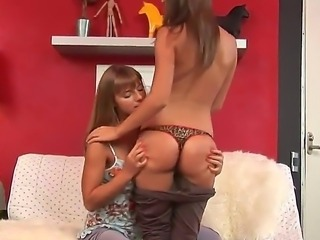 Slender babes with delicious asses Jayden and Shira kissing and licking each...