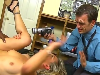 Blonde Amanda Blow and her black