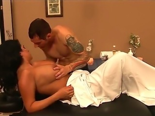 Lacie James comes to Joey Brass to get massage and then he licks her shaved...