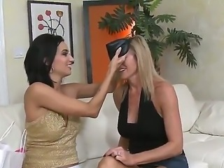 Two attractive whores brunette and blonde meet at home and are ready to play...