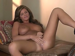 Very pretty girl Daisy Lynn is playing with her bald pussy with her naughty...