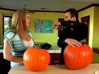 Cassandra Calogera just bought a big pumpkin for Halloween and with her...