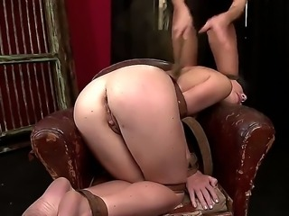 Turned on filthy blonde in black outfit Clara G. dominates over poor pale...