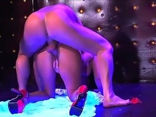 Beautiful girl with awesome boobies and sweet pussy is being drilled in her...