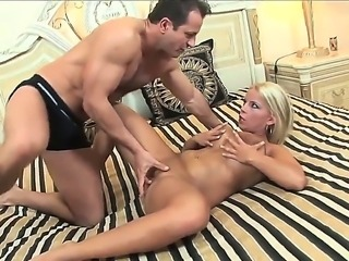 Chick with big boobs and big ass Lucy Love is relaxing with two dudes. Dudes...