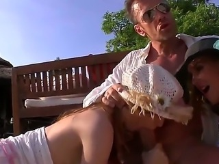 Rocco Siffredi is a very lucky man as he has perfect day today! Two chicks...