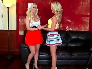Blonde Molly Cavalli along hottie Cherie DeVille are enjoying a full lesbian...