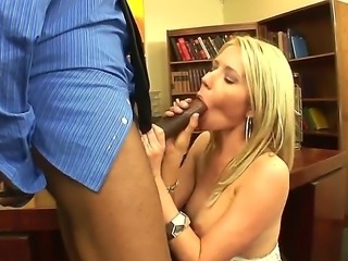 Booty blonde Ashley Winters is a real hot trigger for big black cock of Sean...