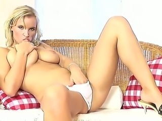 Marvelous blonde lady Simella is too horny today with her plump pussy and...