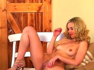 Slender leggy blonde girl Sophia Knight stays in high heeled shoes only! She...