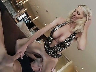 Slender bodies and buxom blonde milf Emma Starr got Johnny Sins huge tool