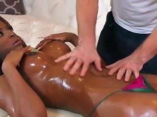 Black hottie Jasmine Webb gets massaged by one dude when suddenly Keiran Lee...