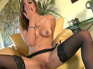 Spicy glamourous babe Melanie Rios can drive you crazy in her nice black...