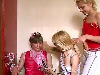 Crazy hot classmate chicks Loly and Vika decide to share their ex boyfriend