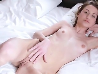 This so cool-looking blode girl likes to strip and to make her most intimate...