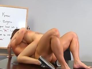 Teen with big tits Mae Meyers likes fucking her teacher and making him splash...