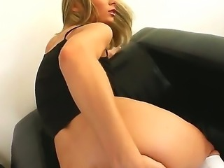 Young slender blonde Helena with dark heavy make up and natural boobs gives...