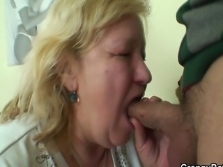He picks up old fatty and bangs her hard