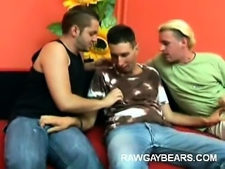 Hairy Gay Cub Mouthing Two Dicks