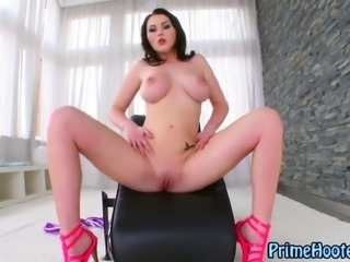 Pussy toying busty all natural babe with stunning big tits