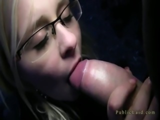 Blonde with glasses fucking outdoor in dusk free