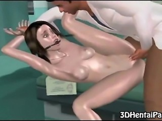 3d brunette babe strips down and gets fucked by her doctor