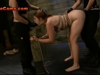Strawberry Blonde Slave With Big Tits Is Bound To A Post And Throat Fucked