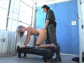 Lesbian strapon shoved up tight pussy