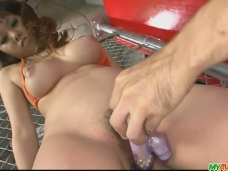 Busty brunette chick stripping off in her bikini and hard fucked. Lovely and...