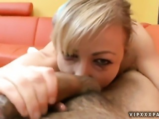 Blonde Adrianna Nicole is on the way to the height of pleasure in solo action