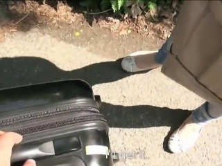 Hitch hiking amateur teen girl Bella Claire public sex