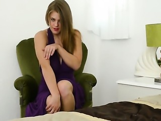 With gigantic breasts and smooth twat satisfies her sexual desire alone in...