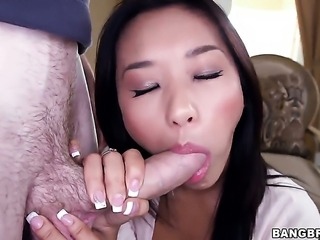 Oriental gets her bush fingered by Alyssa Lynn in girl-on-girl action for...