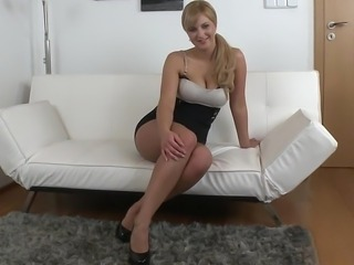 Natural titted Nathaly spreading her legs for us