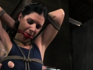 Roped up tit punished sub ball gagged