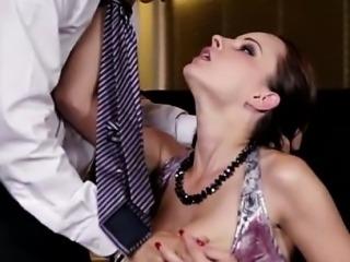 Classy slut with big tits waiter fun