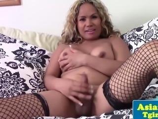 Curlyhaired asian tgirl kayla wanks cock
