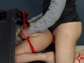 Goth girl gets rough ass fucking in a trash barrrel
